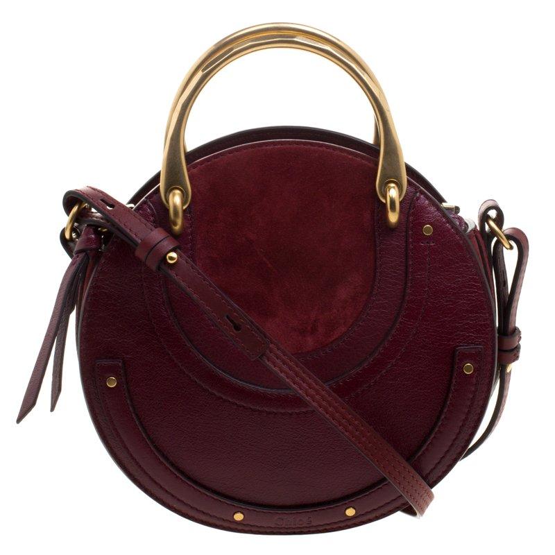 579268b544 Chloe Burgundy Leather Small Pixie Round Top Handle Bag