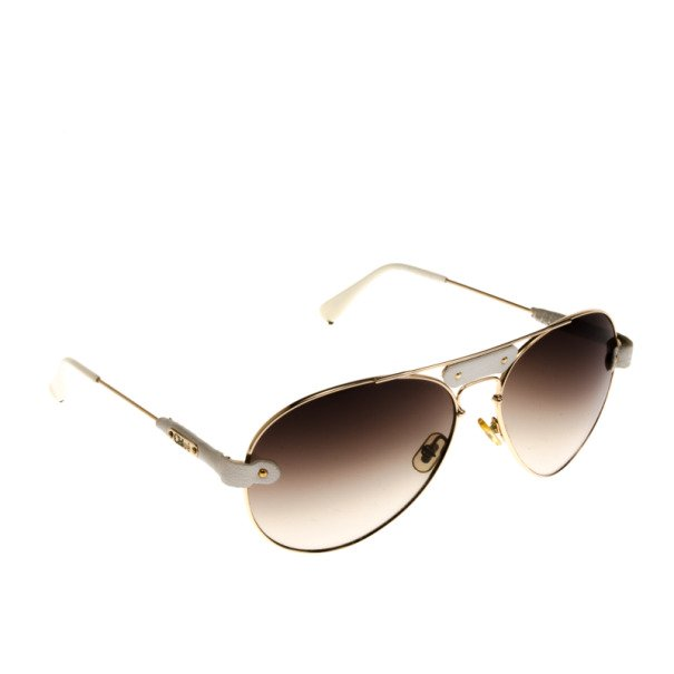 Buy Chloe Gold Rimmed Womens Aviators With White Leather Trim 39764 ... 80b63070a