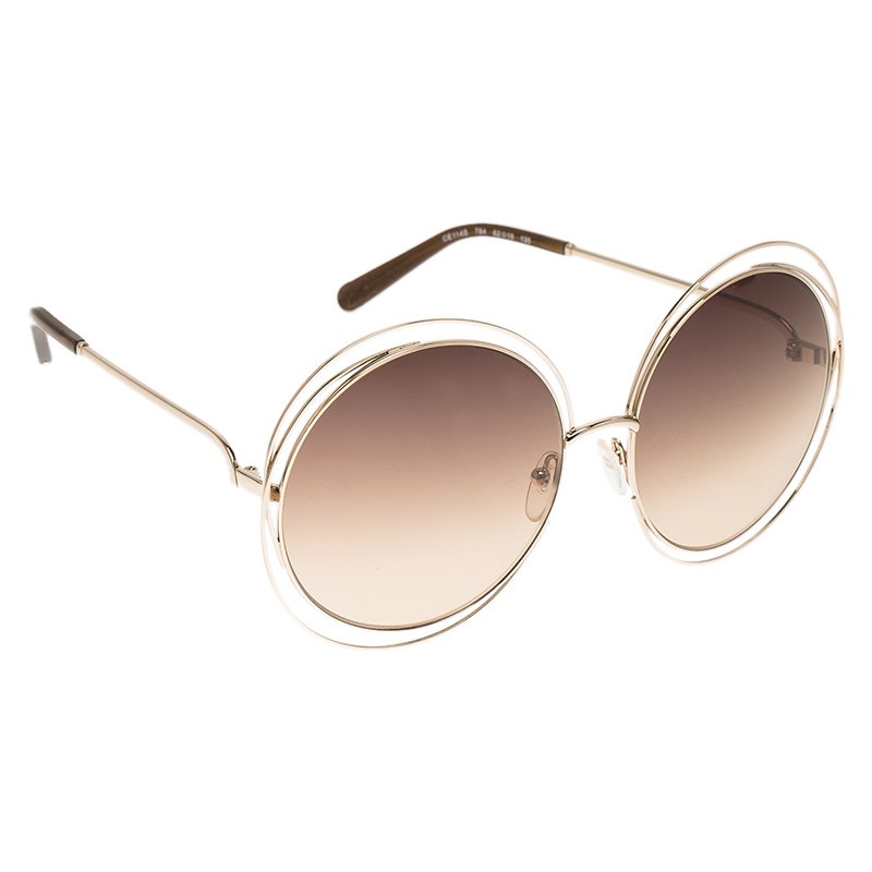 0d3d858fa3e0 Buy Chloe Gold Carlina Oversized Round Sunglasses 68670 at best ...