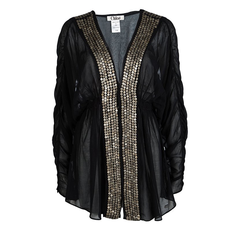 Buy Chloe Black Cotton Voile Embellished Tunic M 101326 at best ... c5d3bb7817