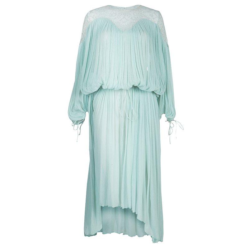 2a6e60f72c Chloe Light Blue Crinkled Chiffon Lace Detail Long Sleeve Maxi Dress S