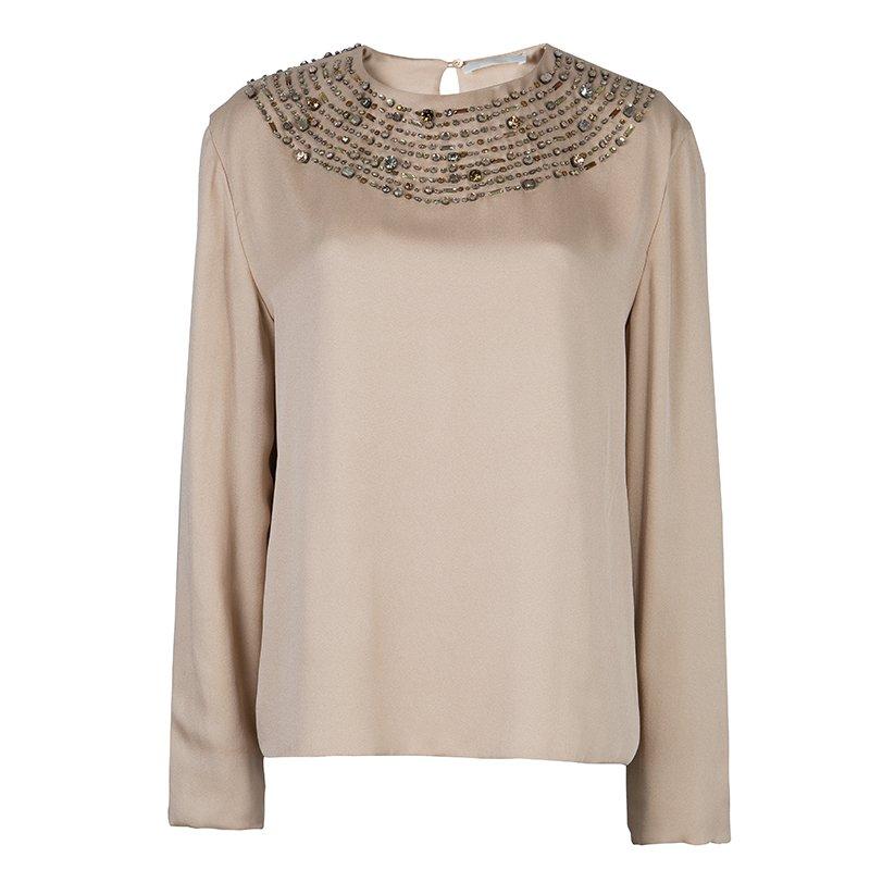 0823606aee9b6d Source · Buy Chloe Beige Embellished Long Sleeve Silk Blouse L 59644 at best