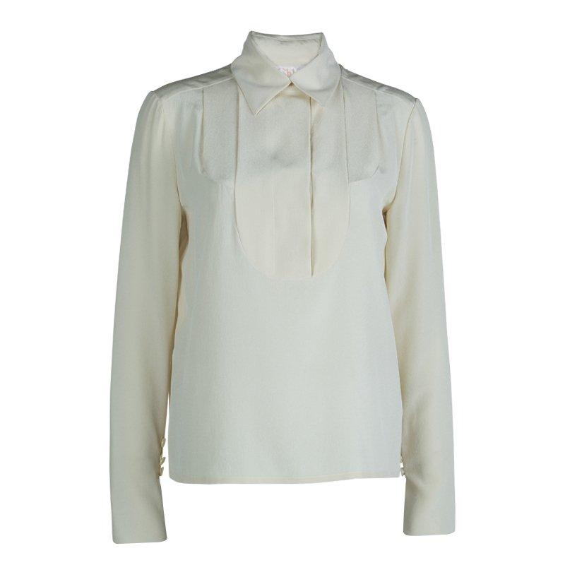 Chloe Cream Silk Long Sleeve Blouse S