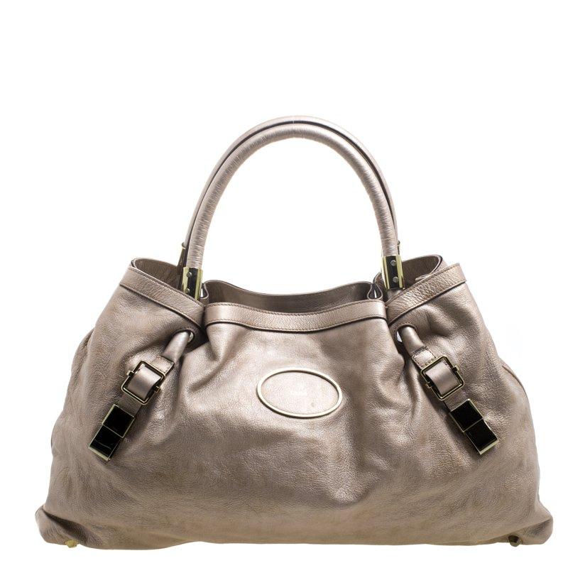 09dcf9489c Buy Chloe Metallic Biege Leather Victoria Tote 104822 at best price ...