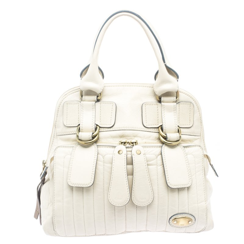Buy Chloe Cream Leather Bay Satchel 105882 at best price  ee5edfe3ae