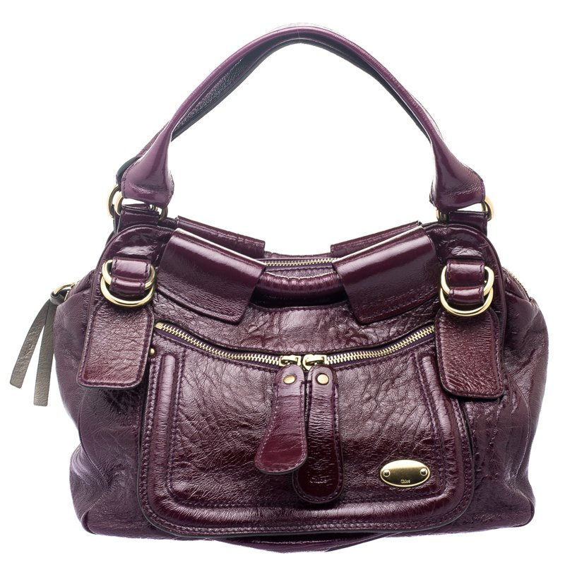 Buy Chloe Burgundy Patent Leather Large Bay Hobo 110770 at best ... 2fb48a05ab