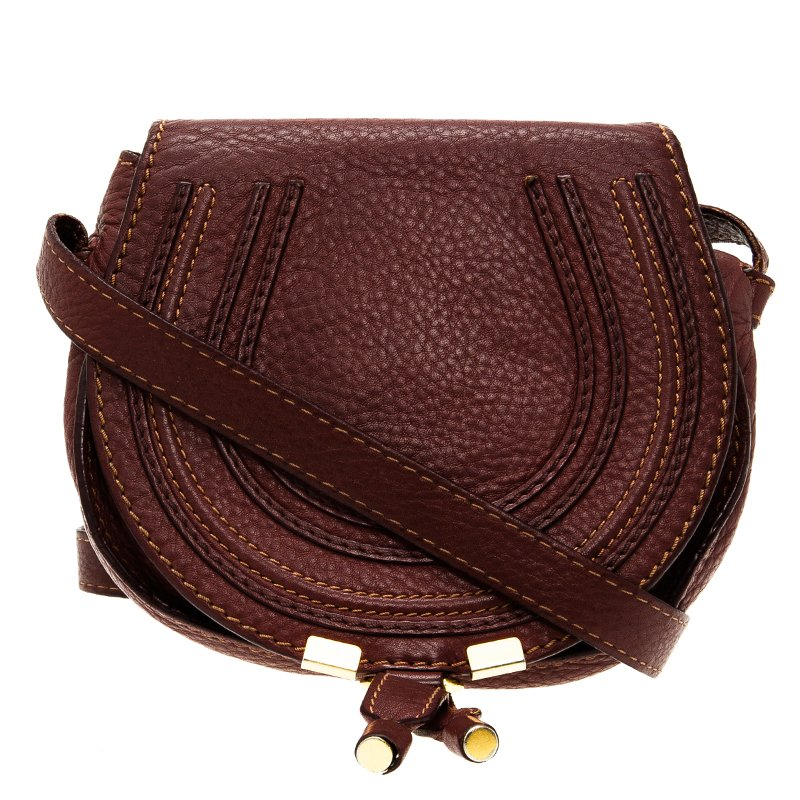 415ec17669b ... Chloe Burgundy Pebbled Leather Mini Marcie Crossbody Bag. nextprev.  prevnext