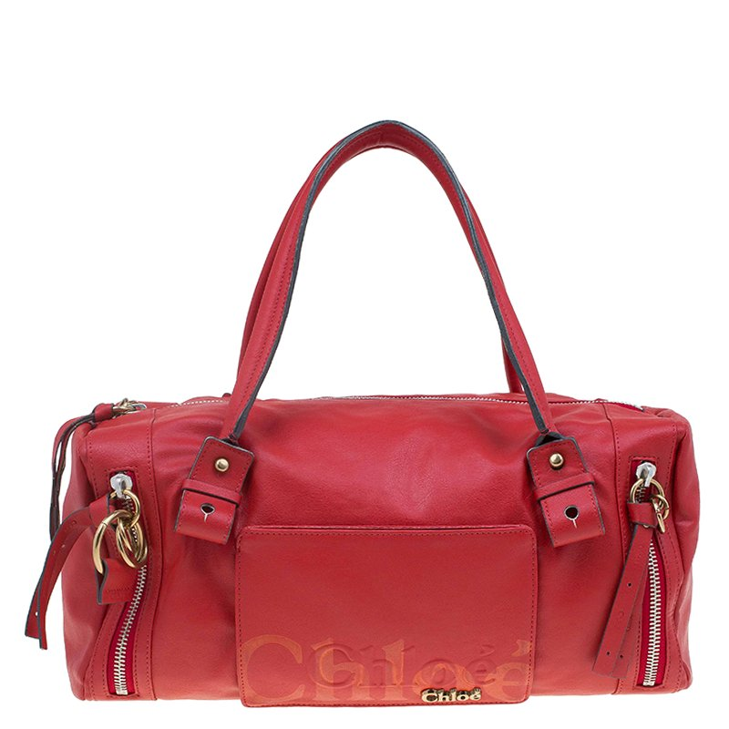 Buy Chloe Red Faux Leather Bowling Bag 62891 at best price  f53a405316cdd