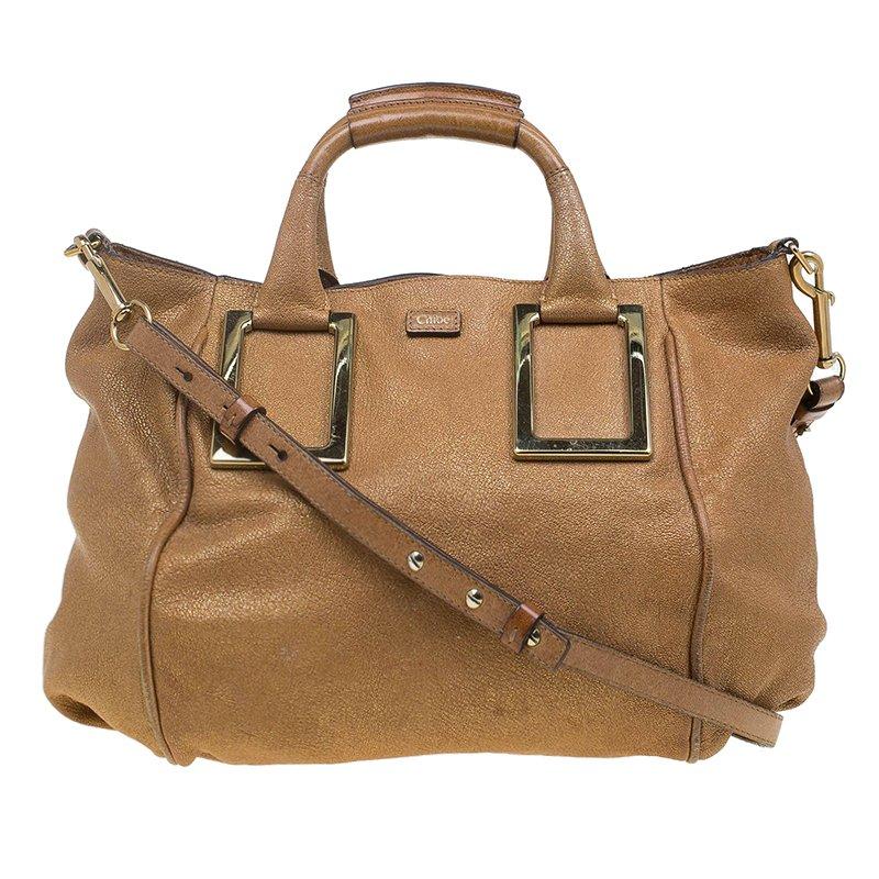 Buy Chloe Metallic Brown Leather Medium Ethel Satchel 64185 at best ... 465b57545