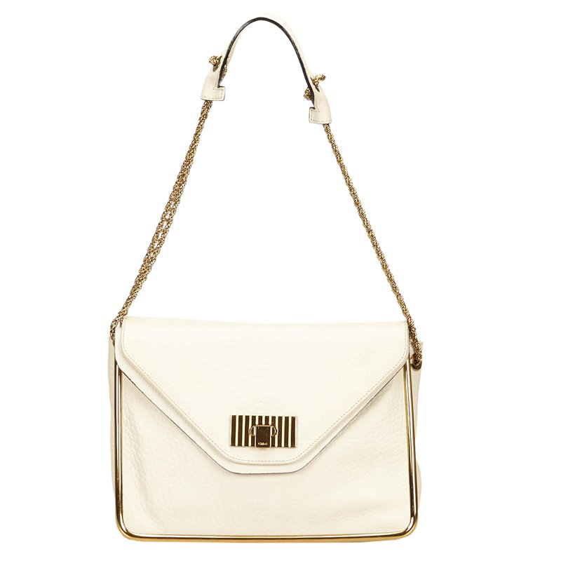 db9dded1b1d Buy Chloe White Leather Sally Shoulder Bag 65807 at best price | TLC