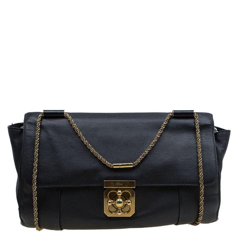 c1f13ab01f970 Buy Chloe Black Leather Large Elsie Shoulder Bag 81817 at best price ...