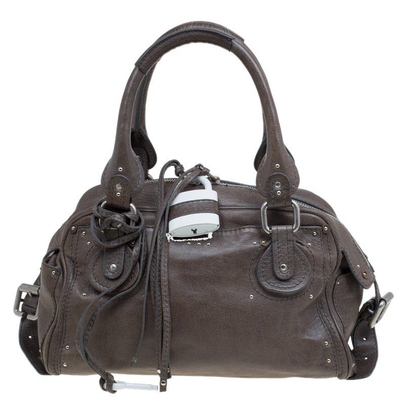 Buy Chloe Olive Green Leather Large Double Zip Paddington Satchel ... f96a1bd14