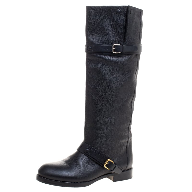 Chloe Black Leather Double Buckle Calf Length Boots Size 38
