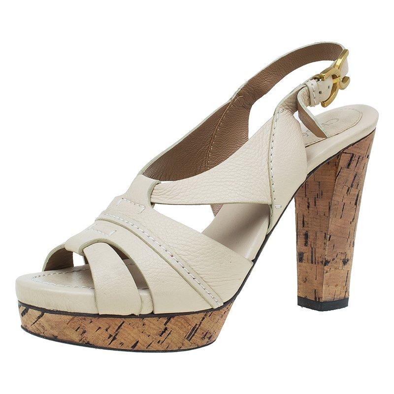 a0ef4403c21 Buy Chloe Cream Leather Renna Tan Platform Sandals Size 40 50390 at ...