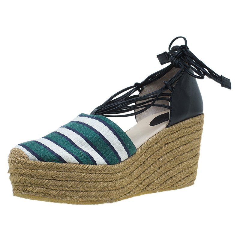 d87fd496640 Chloe Green and White Striped Canvas and Leather Tie-Up Espadrille Wedges  Size 39