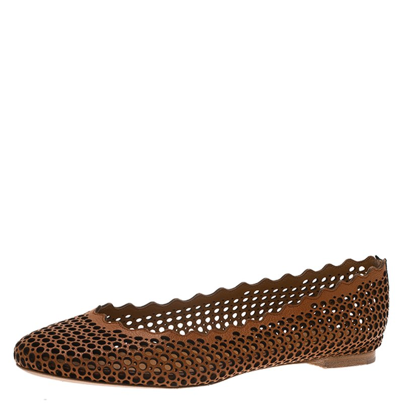 9e57882ac ... Chloe Brown Perforated Leather Lauren Scalloped Ballet Flats Size 36.  nextprev. prevnext