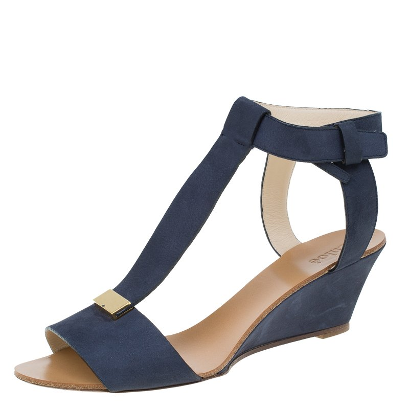 wholesale outlet large assortment latest releases Chloe Navy Blue Nubuck T Strap Ankle Strap Wedge Sandals Size 37