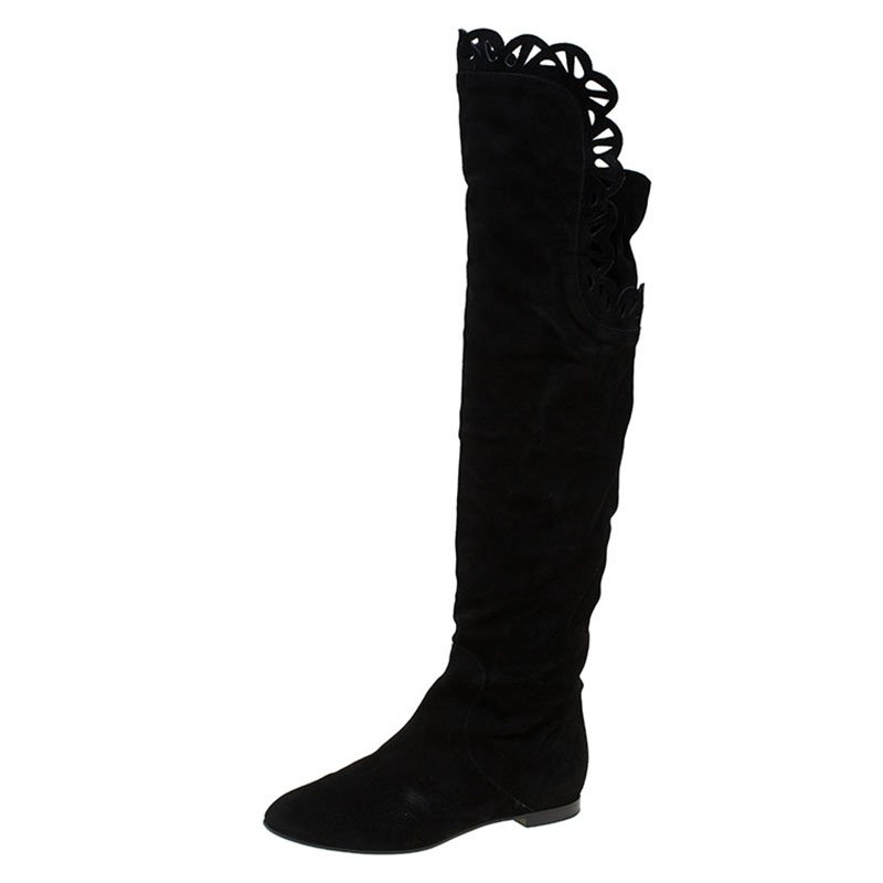 c86b2690a58 Buy Chloe Black Cutout Suede Over the Knee Boots Size 38 83235 at ...