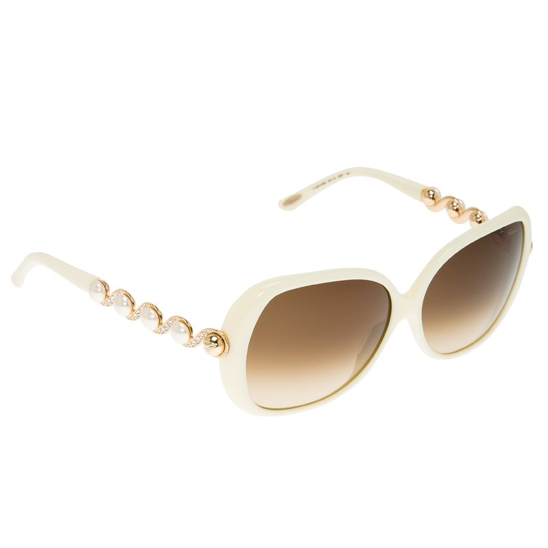 Chopard Cream Pearl Embellished Swirls & Rose Gold Tone Square Sunglasses