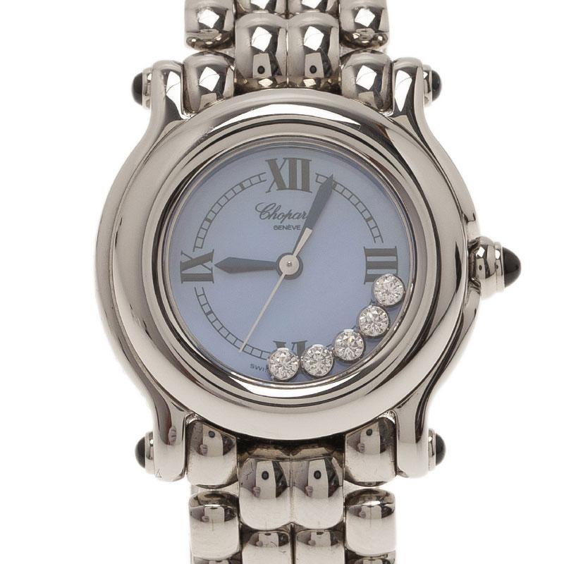 Chopard Blue Mother of Pearl Stainless Steel Happy Sport Women's Wristwatch 26MM