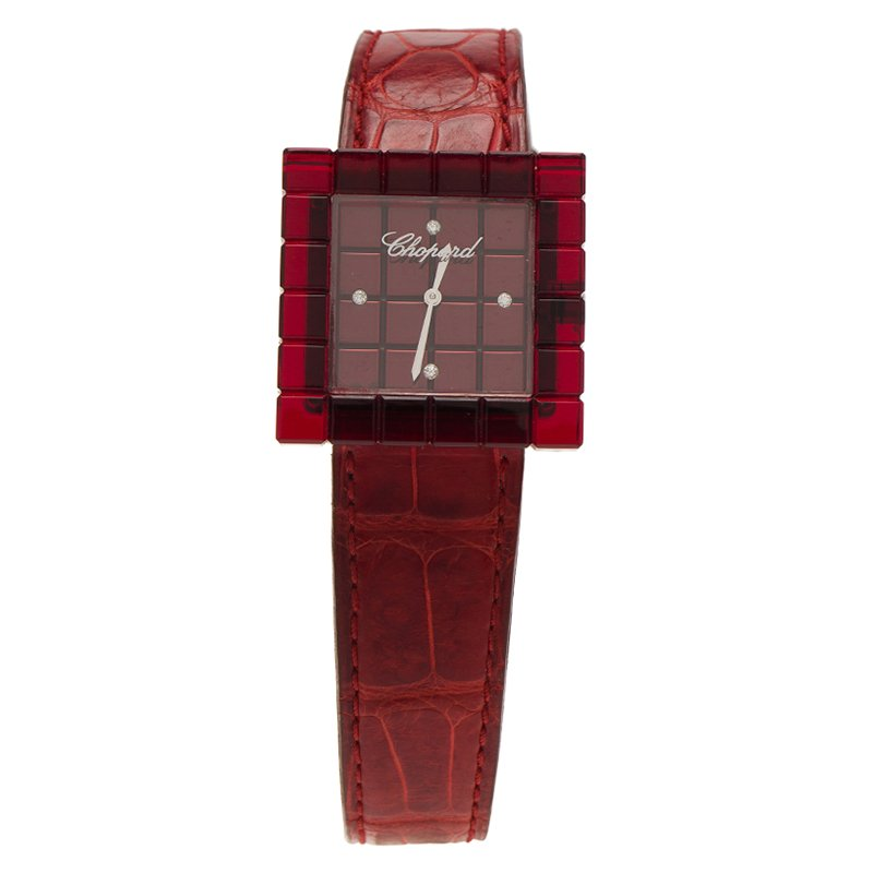 a299241d6 إشتري ساعة يد نسائية شوبارد آيس كيوب بي ماد راتنغ أحمر وستانلس ستيل ...