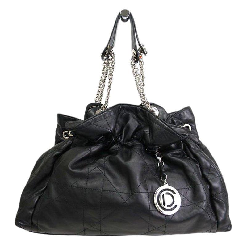 Dior Black Quilted Cannage Lambskin Leather Le Trente Shoulder Bag