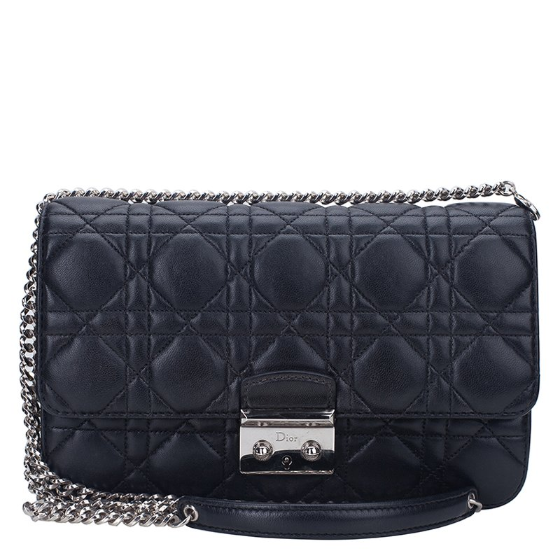 0e6730e09b Buy Dior Black Cannage Quilted Calfskin Miss Dior Promenade Pouch ...