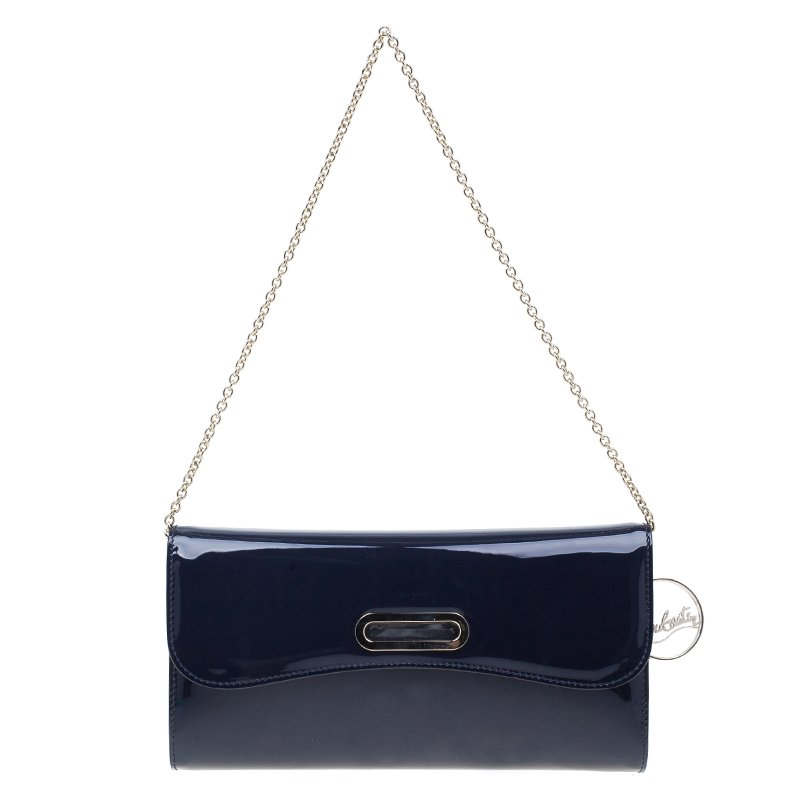 57fe01f6311 Christian Louboutin Navy Blue Patent Leather Riviera Clutch