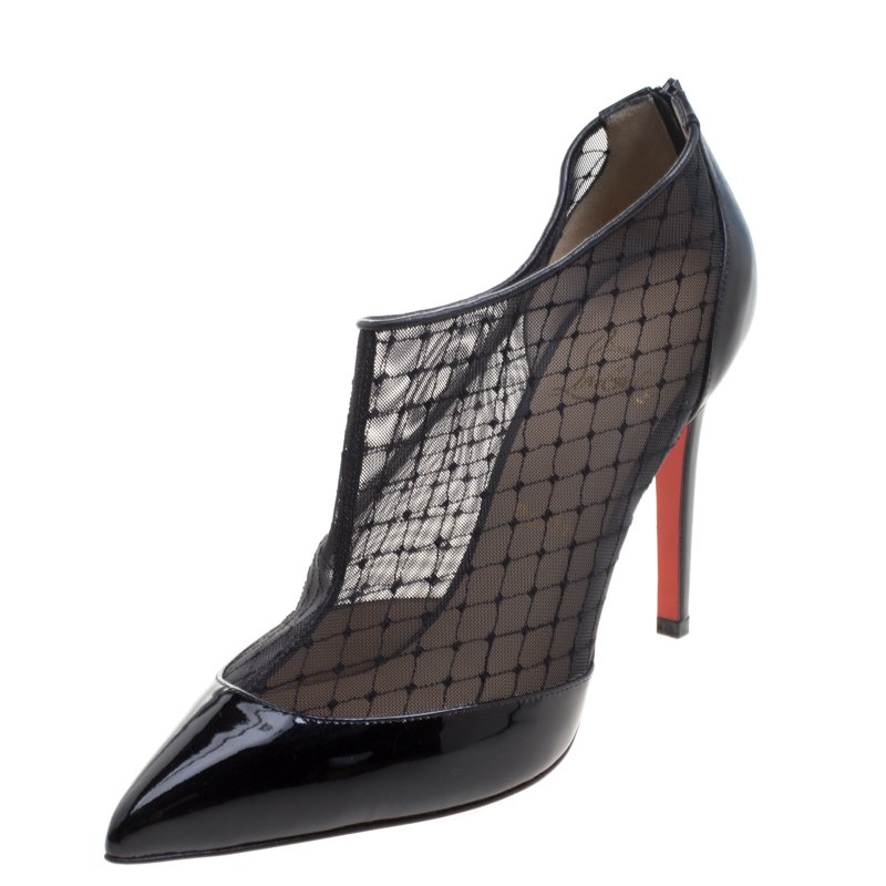 11221964d8 ... Christian Louboutin Black Mesh and Leather Filette Ankle Booties Size 39.  nextprev. prevnext