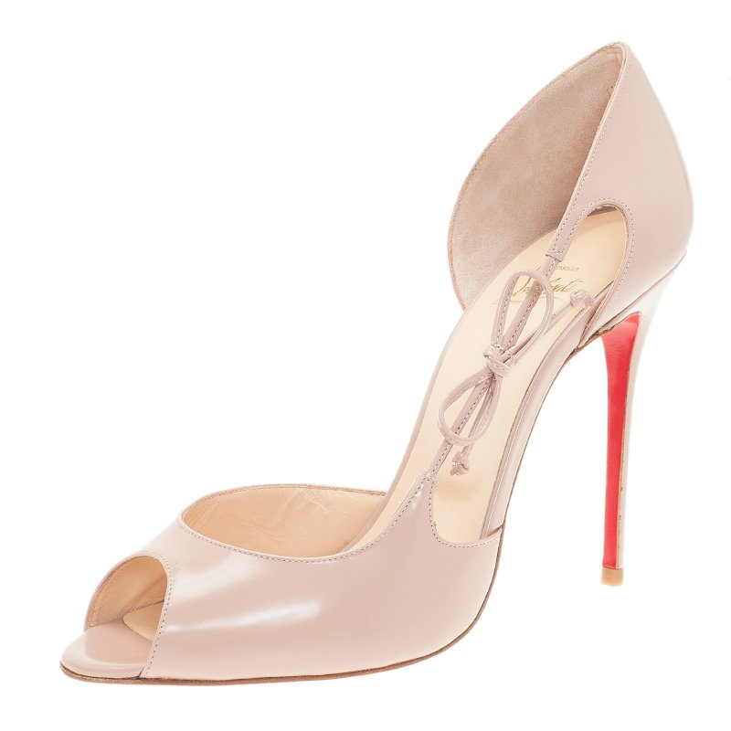 3e564aceb51 Christian Louboutin Nude Leather Delico D'Orsay Pumps Size 41