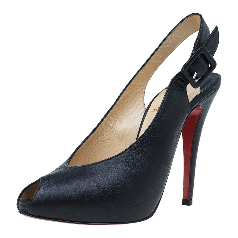 on sale 1d384 6e5d9 Christian Louboutin Black Leather Private Number Peep Toe Slingback Sandals  Size 37.5