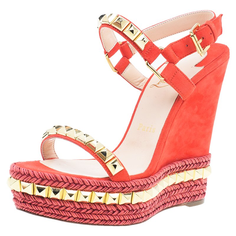 b0cbde23fae Christian Louboutin Orange Studded Leather and Suede Cataclou Espadrille  Wedge Sandals Size 37