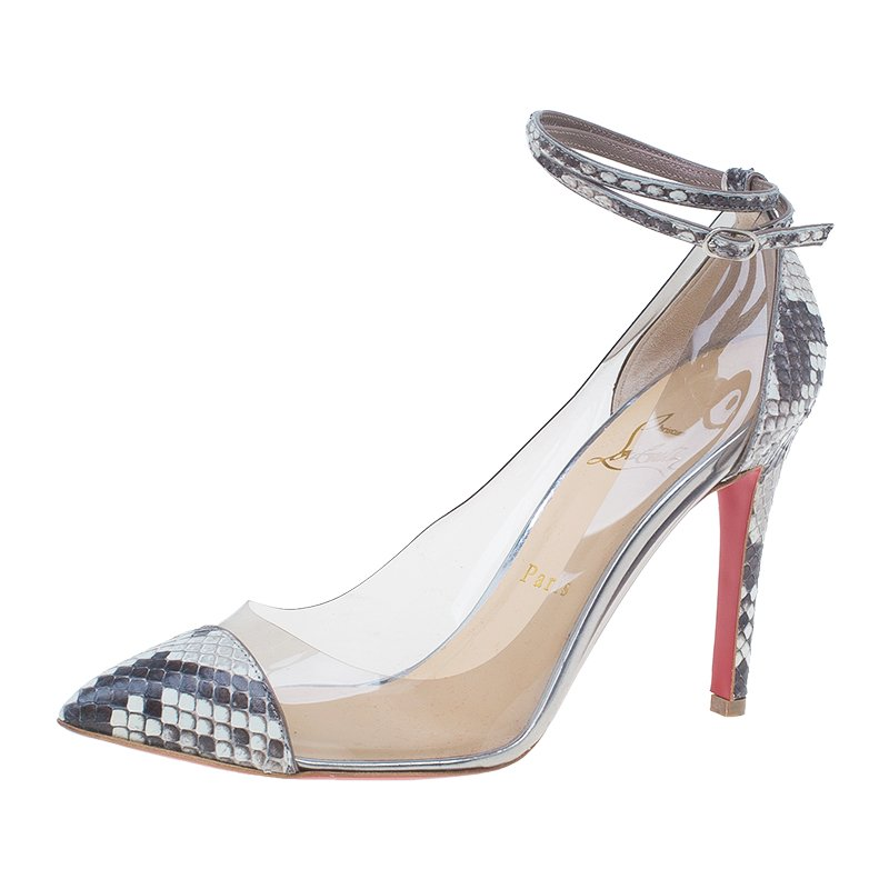 brand new 71acc 5eec6 Christian Louboutin Grey Python and PVC Pigalle Un Bout Ankle Strap Pumps  Size 37