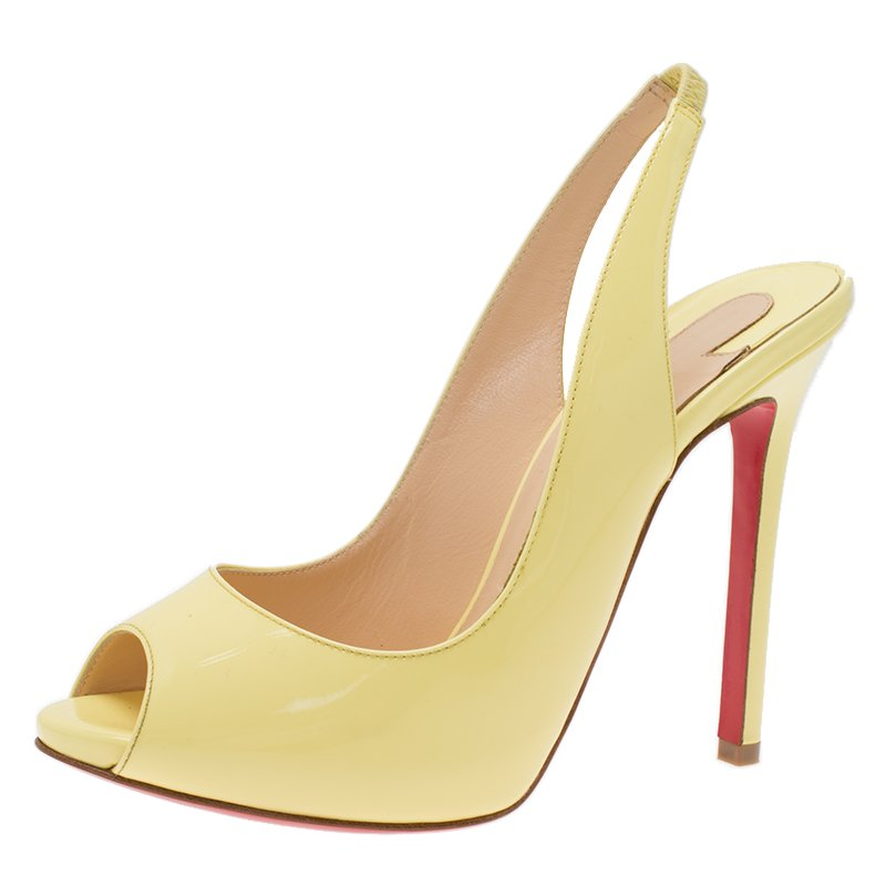 9739fed583a Buy Christian Louboutin Yellow Patent Flo Slingback Sandals Size ...