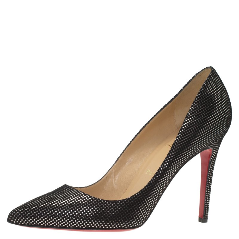 f5e146f9db0 Christian Louboutin Black and Silver Polka Dot Suede Pigalle Pumps Size 40.5