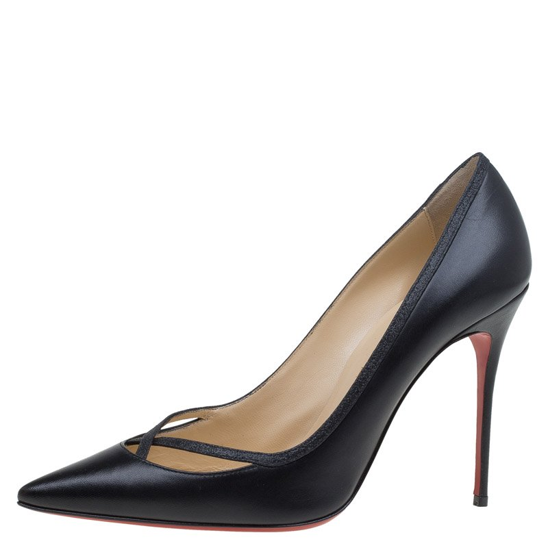 Christian Louboutin Black Leather Princess Pumps Size 41