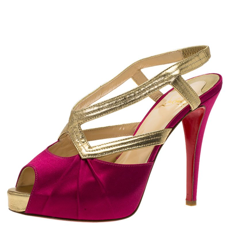 c58e59128cf Buy Christian Louboutin Fuschia Satin and Leather Angela Slingback ...