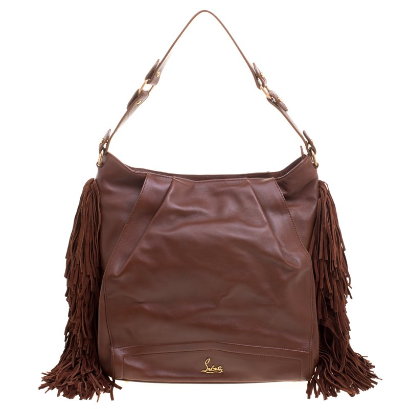 4c0c5078a7 ... Christian Louboutin Brown Leather Justine Fringed Hobo. nextprev.  prevnext