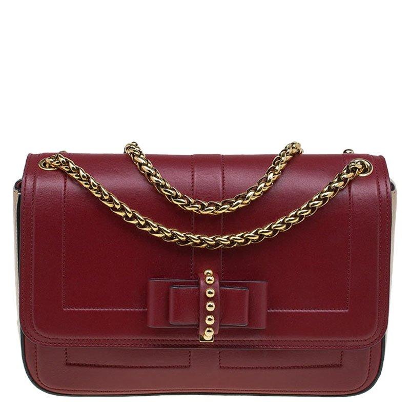 14abc77b00b Christian Louboutin Red/Beige Leather Sweet Charity Shoulder Bag