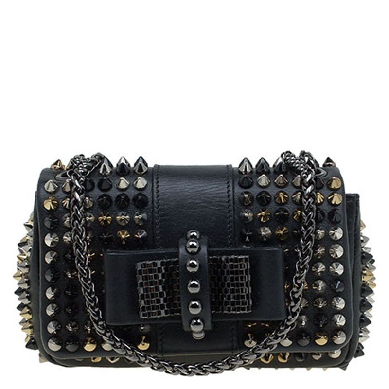 dbf208827bd Christian Louboutin Black Leather Spike Sweet Charity Mini Crossbody Bag