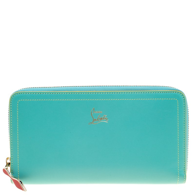 389e3b2f699 Christian Louboutin Turquoise Leather Zip Around Agenda Wallet