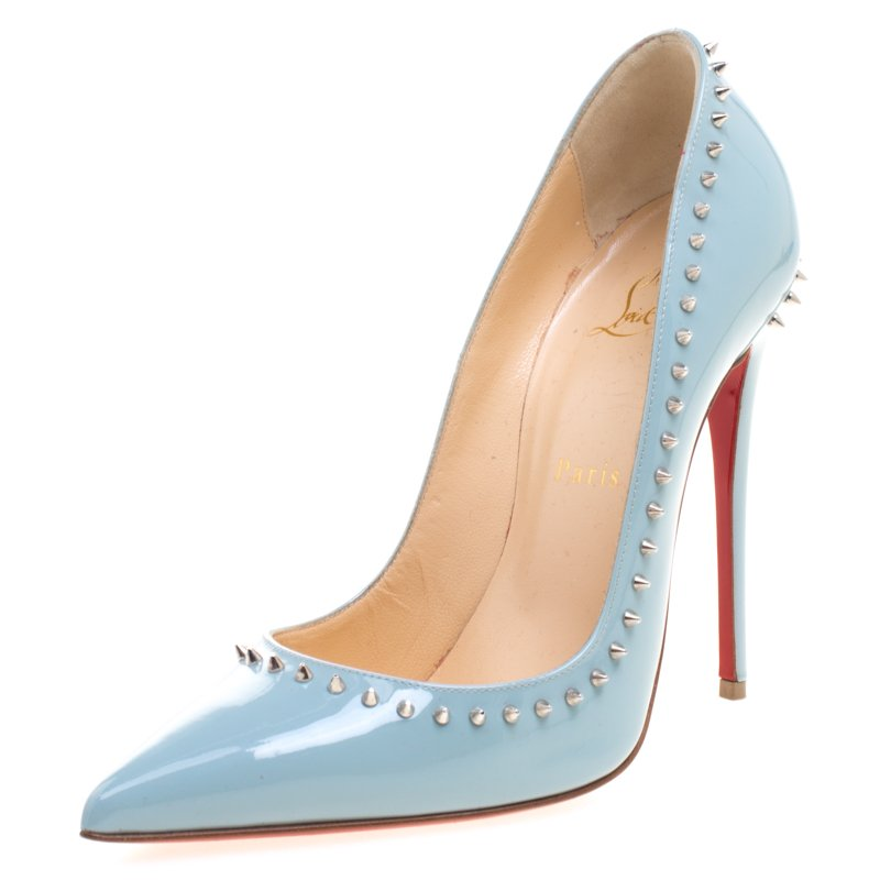 32933d7b5efb ... Christian Louboutin Grey Studded Patent Leather Anjalina Pumps Size 38.  nextprev. prevnext