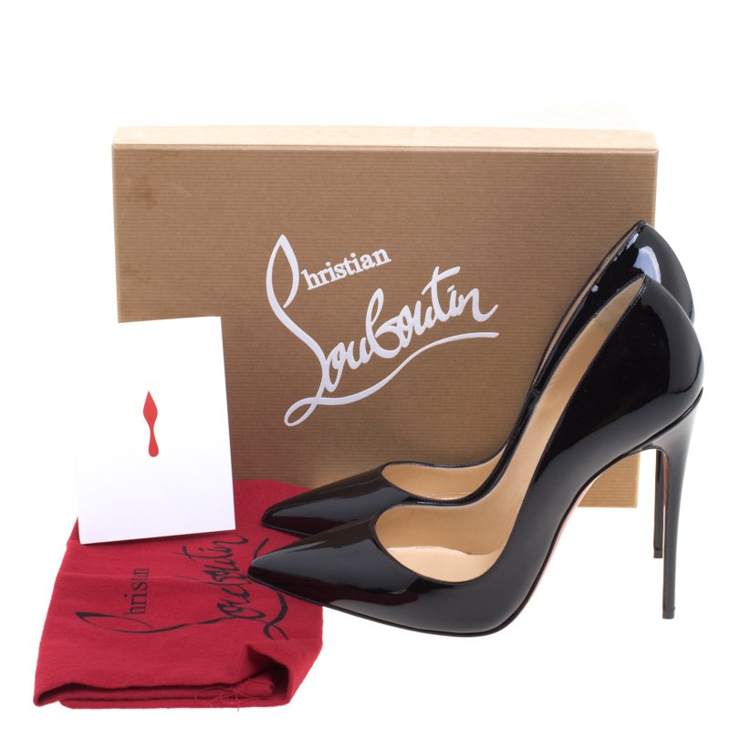 finest selection a88d3 0762c Christian Louboutin Black Patent Leather So Kate Pumps Size 40