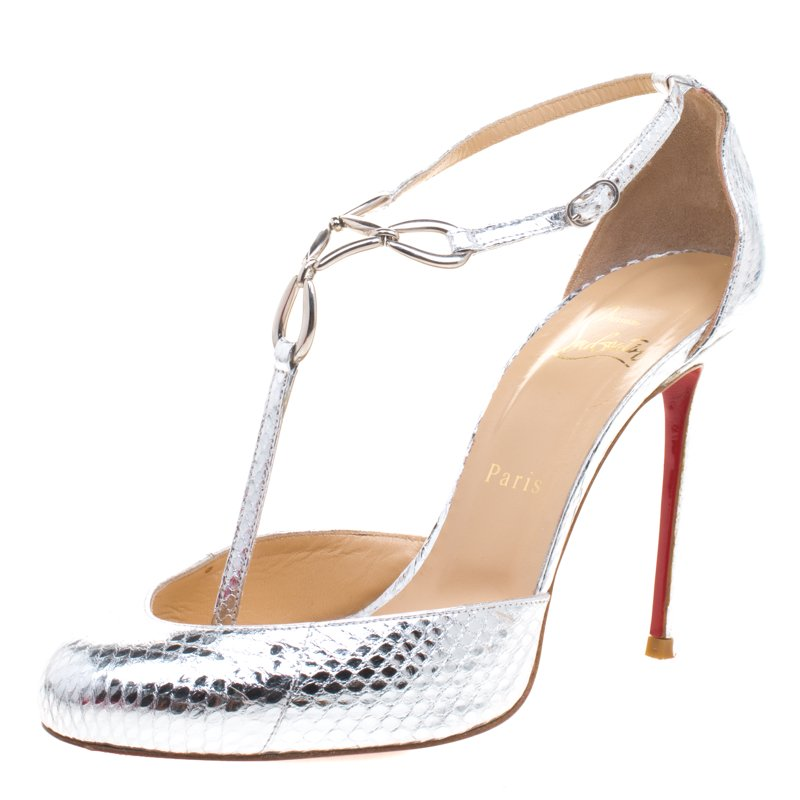 official photos e6acf 8708d Christian Louboutin Silver Metallic Snake Embossed Leather Carla T Strap  Sandals Size 39
