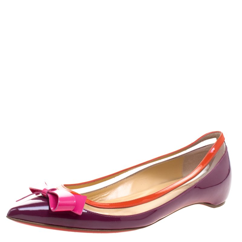 buy popular 76326 30ca9 Christian Louboutin Tricolor Patent Leather and PVC Suspenodo Flats Size 37