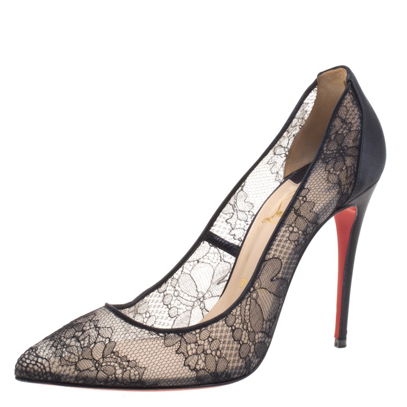 buy christian louboutin black satin and lace pigalace pointed toe rh theluxurycloset com