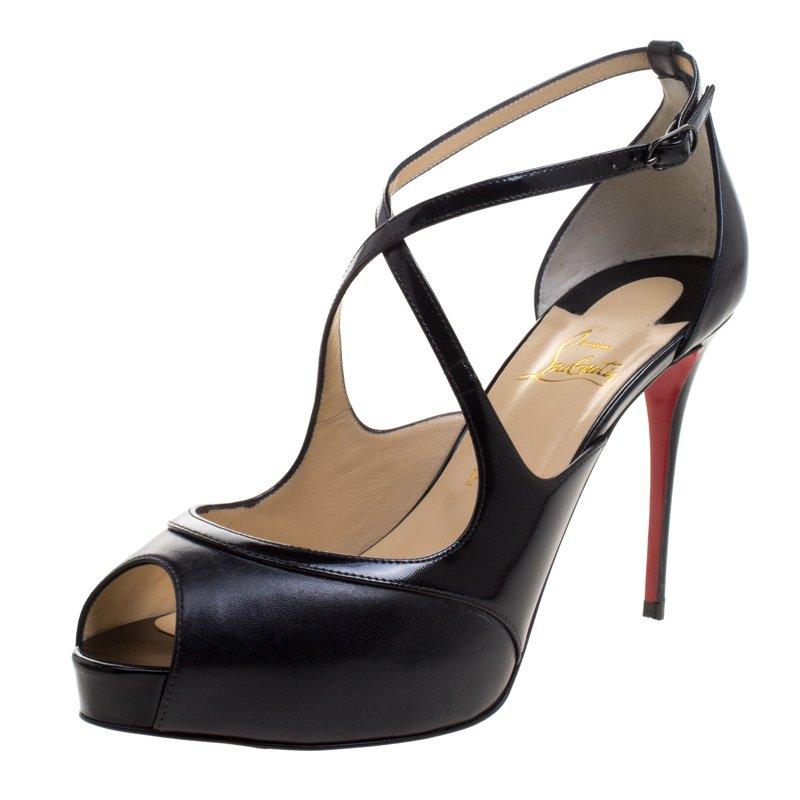 ce18fc86c49 Christian Louboutin Black Leather Mira Bella Cross Strap Sandals Size 40.5