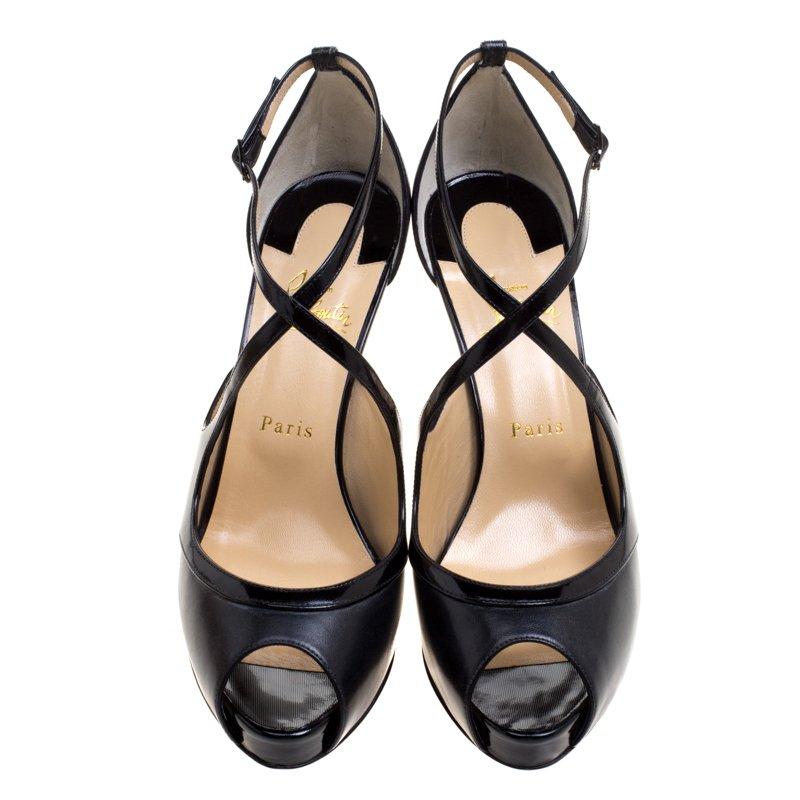 new concept febd2 e83df Christian Louboutin Black Leather Mira Bella Cross Strap Sandals Size 40.5