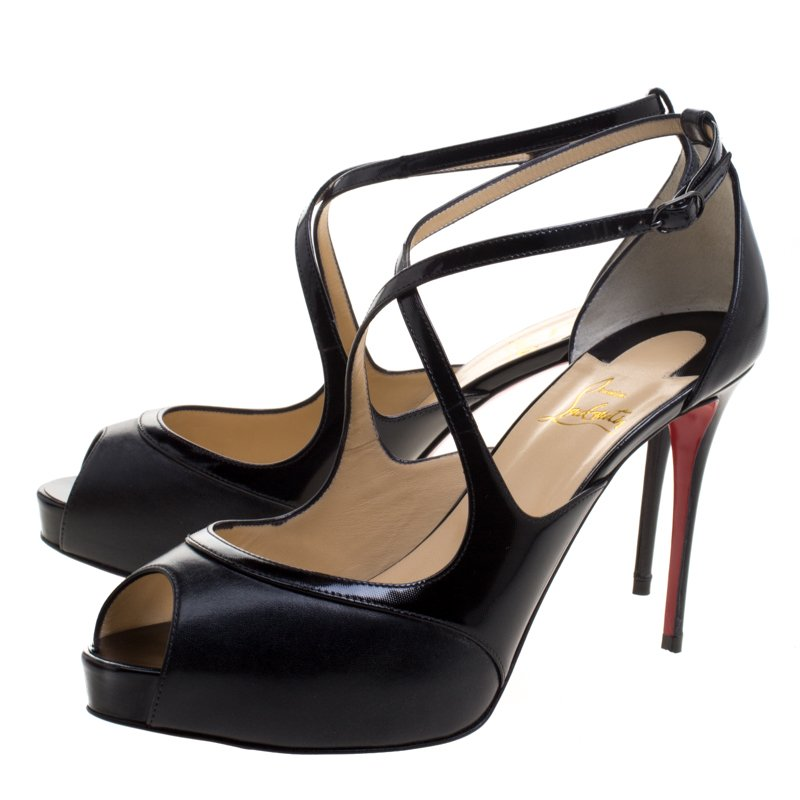 new concept 9725f cc5a0 Christian Louboutin Black Leather Mira Bella Cross Strap Sandals Size 40.5