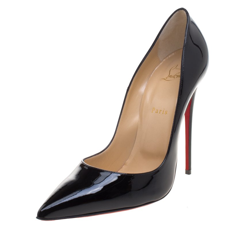 quality design a8da3 e4f9b Christian Louboutin Black Patent Leather So Kate Pumps Size 42